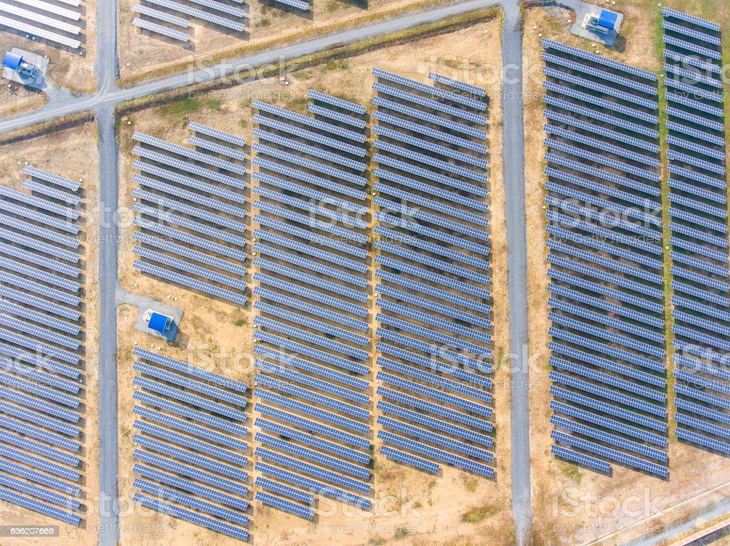 Top view of Photovoltaics Solar Farm in Rural Area, stock photo