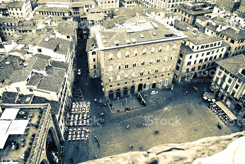 Top View of Piazza Signoria in Florence stock photo