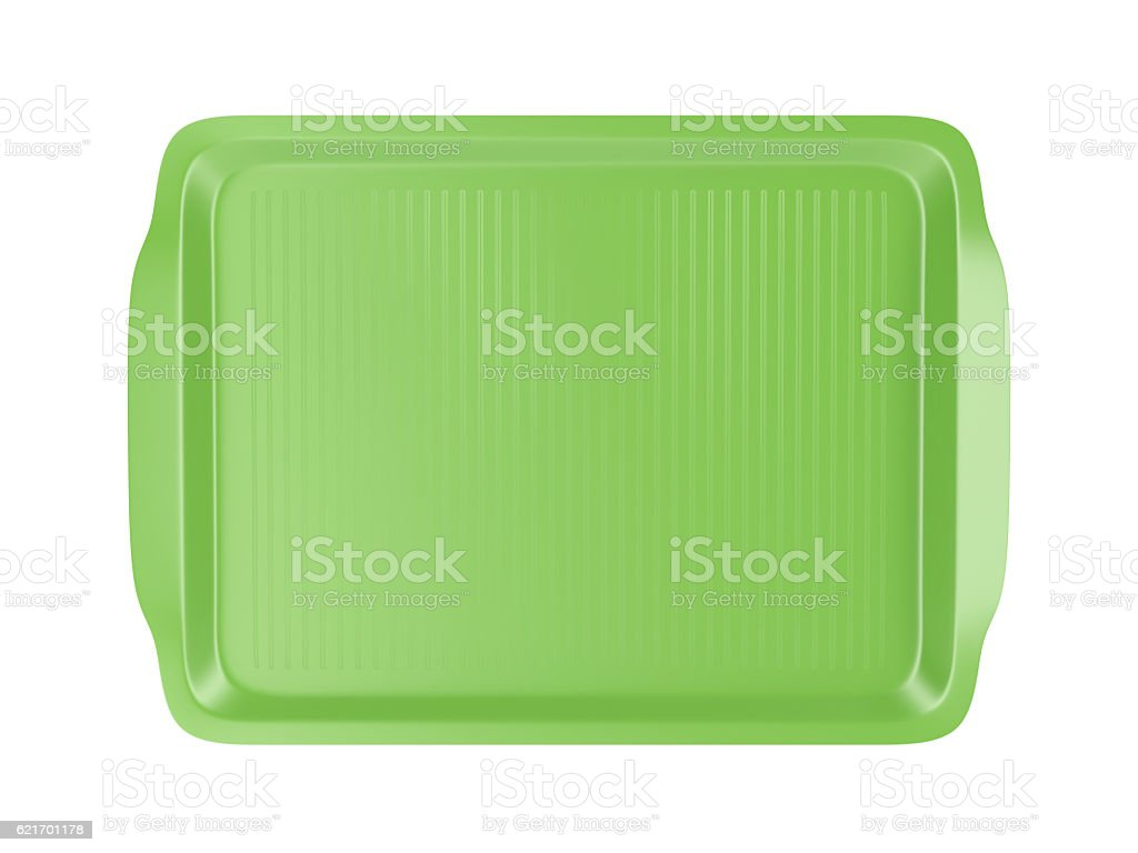 Top view of plastic tray stock photo