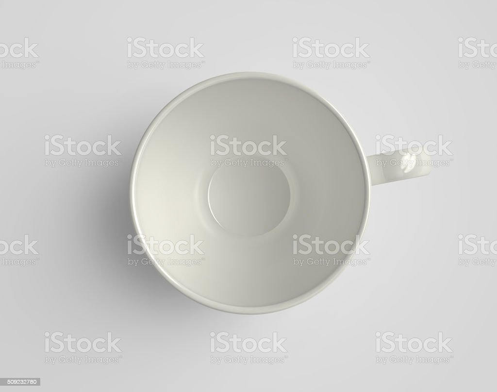 Top view of porcelain cup stock photo