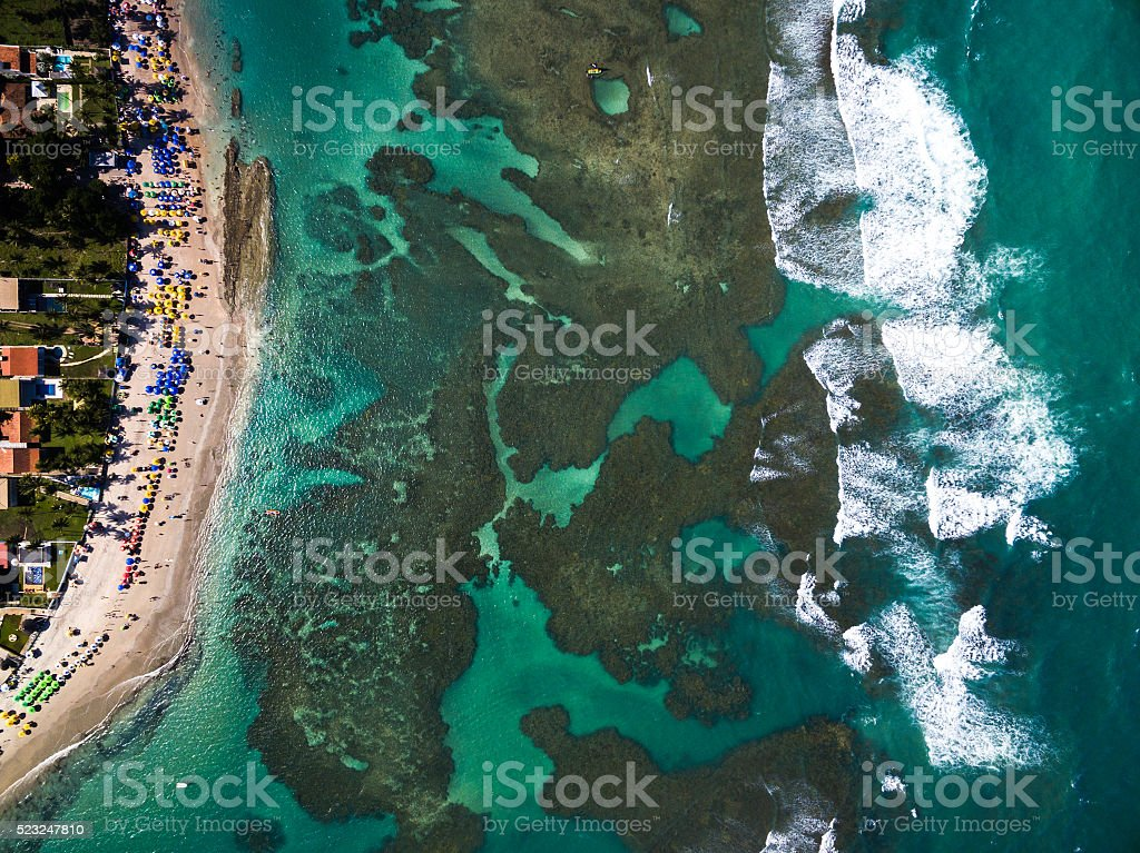 Top View of Porto de Galinhas, Pernambuco, Brazil stock photo