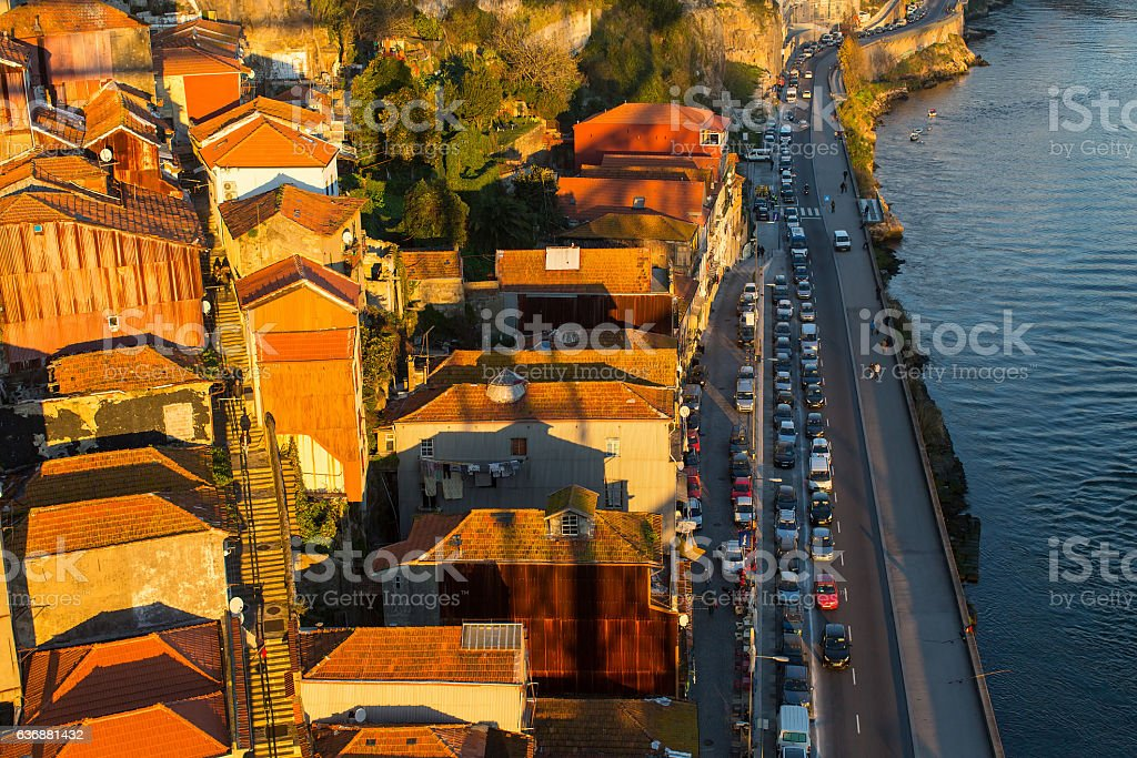 Top view of Porto old town, Portugal. stock photo