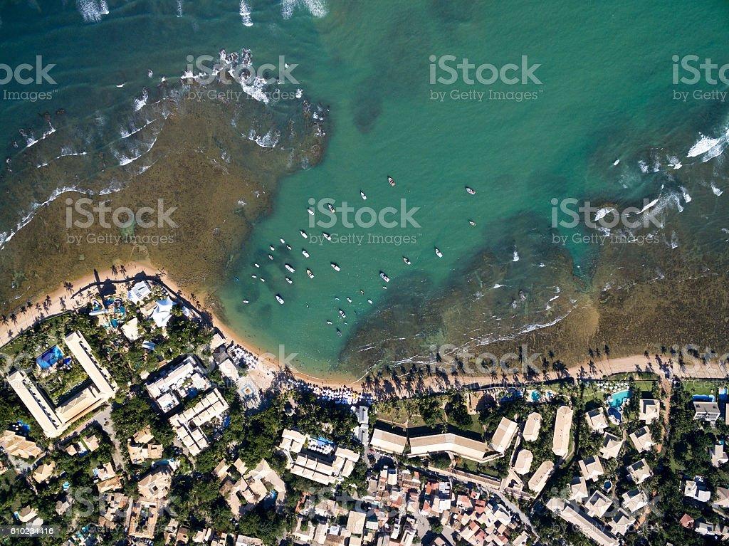 Top view of Praia do Forte in Bahia, Brazil stock photo