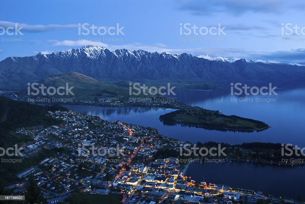 Top view of Queenstown downtown at dusk stock photo
