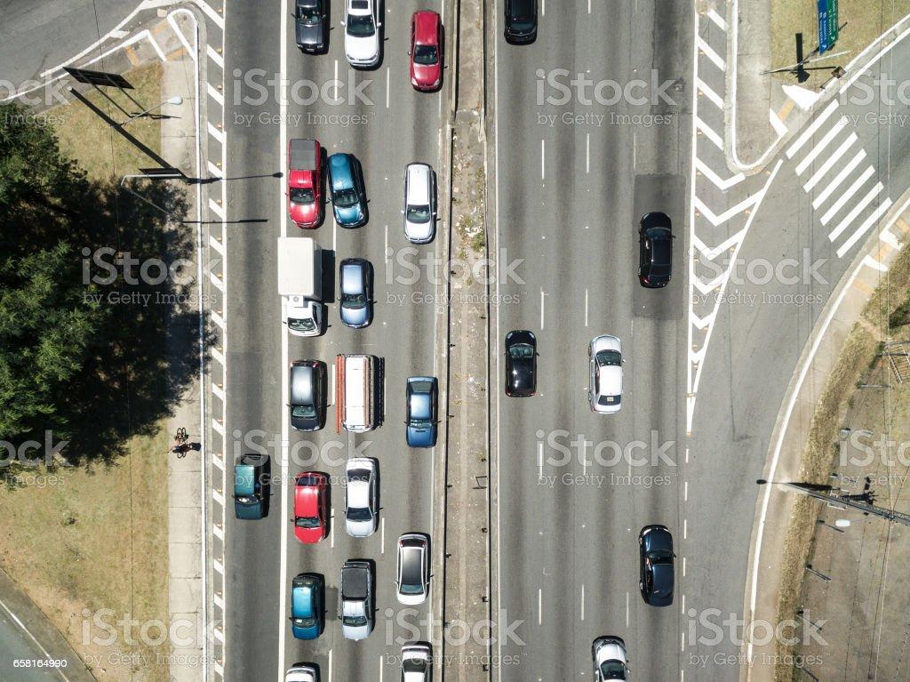Top View of Radial Leste Avenue, in Sao Paulo, Brazil stock photo
