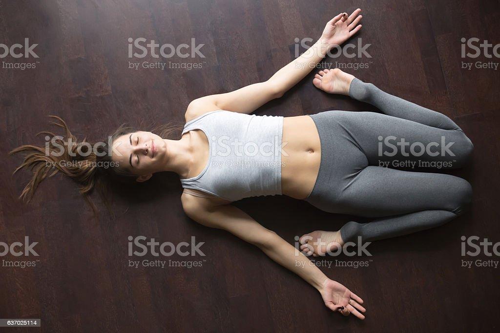 Top view of Reclining Hero yoga posture stock photo