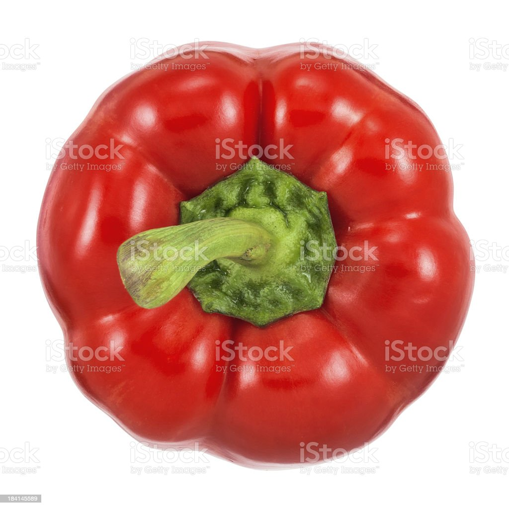 Top view of red bell pepper on white background stock photo