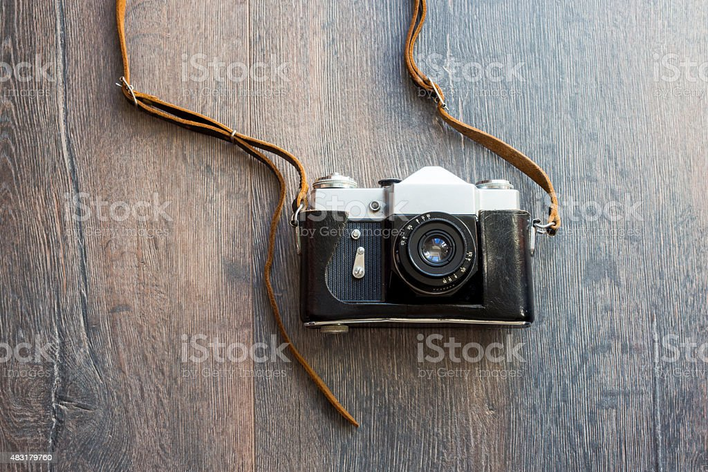 top view of retro camera stock photo