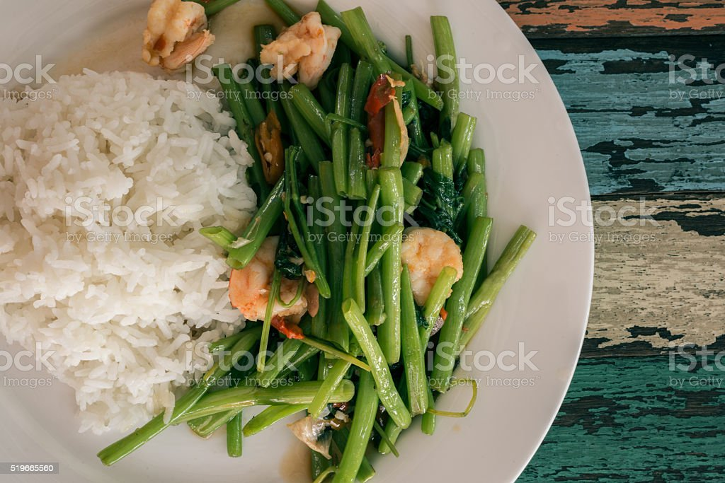 Top view of  Rice with pork fried with garlic stock photo