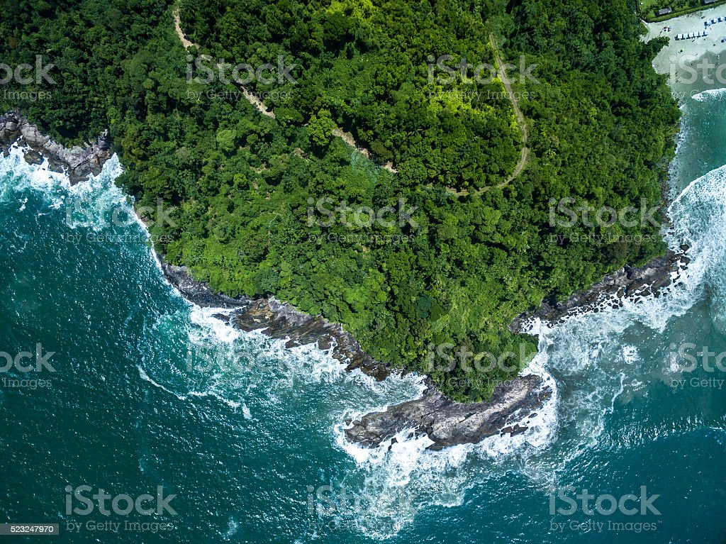 Top View of Rocks in Camburi Beach, Sao Paulo, Brazil stock photo