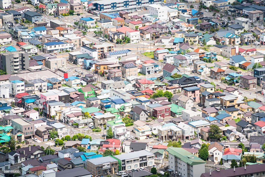 Top view of Roofs from Hakodate on Hokkaido, Japan stock photo