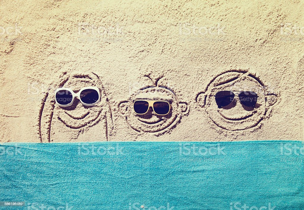 Top view of sandy beach with symbol and copy space stock photo