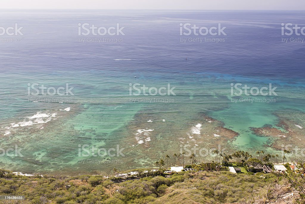 Top view of seascape from Diamond head Honolulu Hawaii royalty-free stock photo