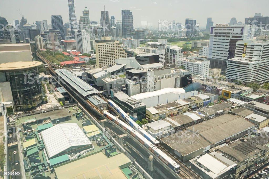 top view of Siam BTS sky train taken in Bangkok on 26 April 2017 stock photo