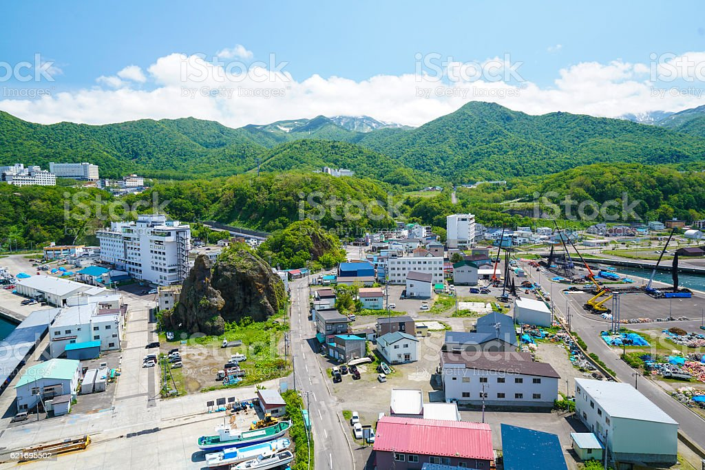 Top view of small town Utoro on Shiretoko, Japan stock photo