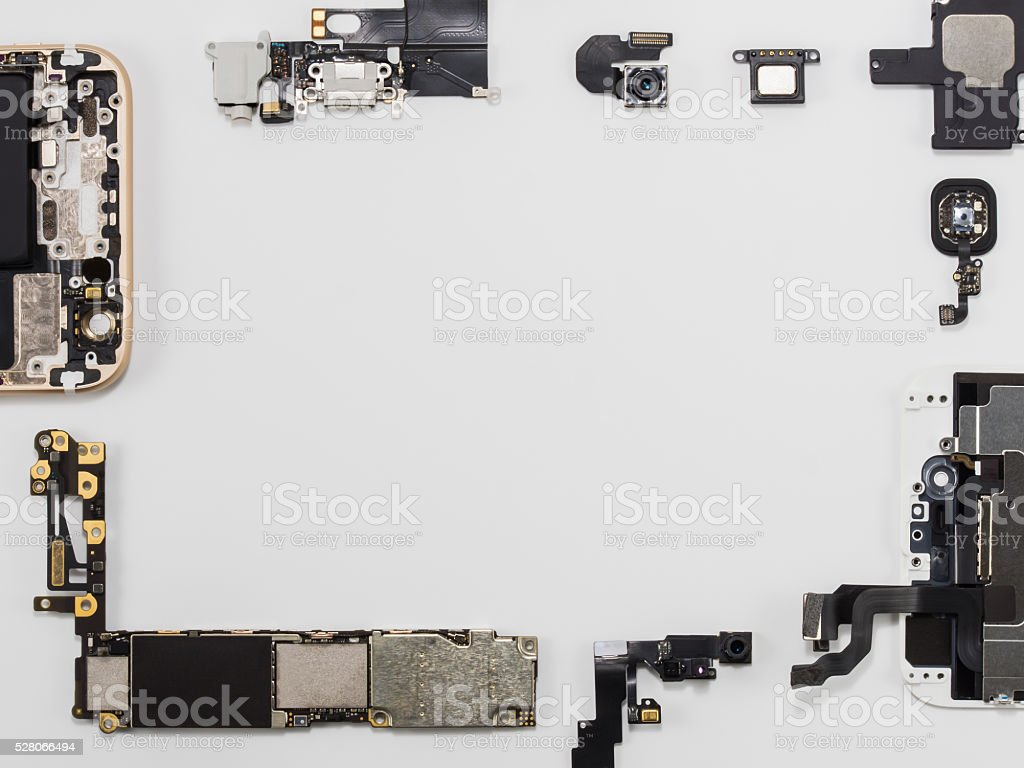 Top view of smart phone components isolate stock photo