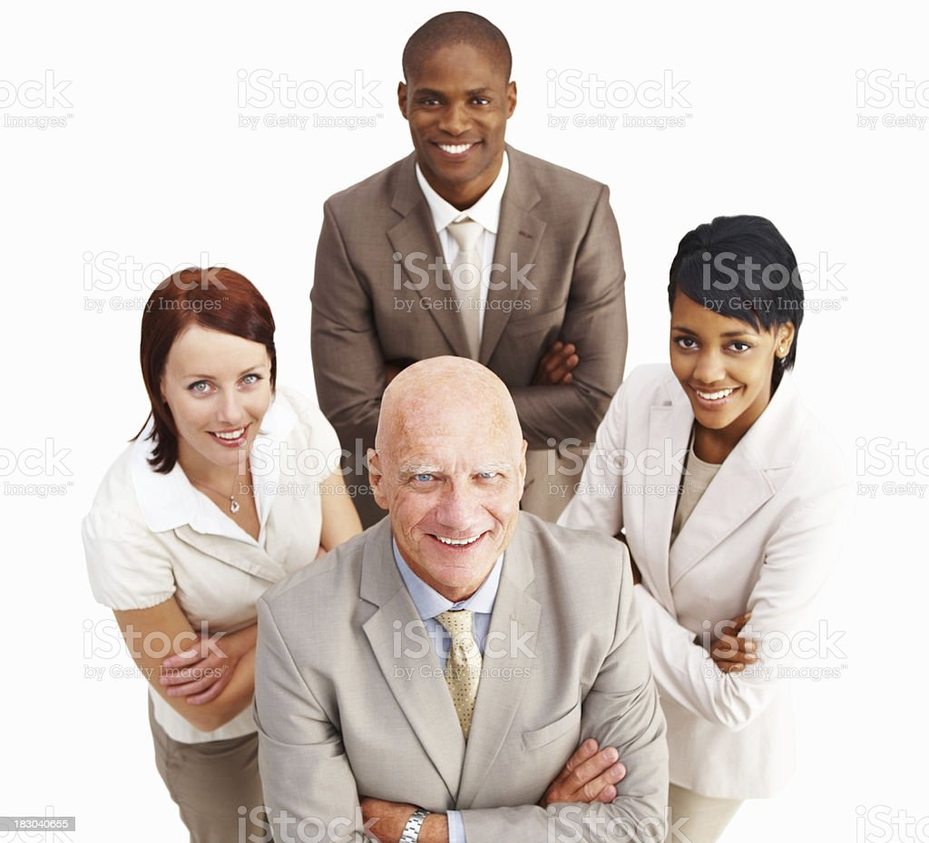 Top view of smiling business colleagues standing against white background royalty-free stock photo