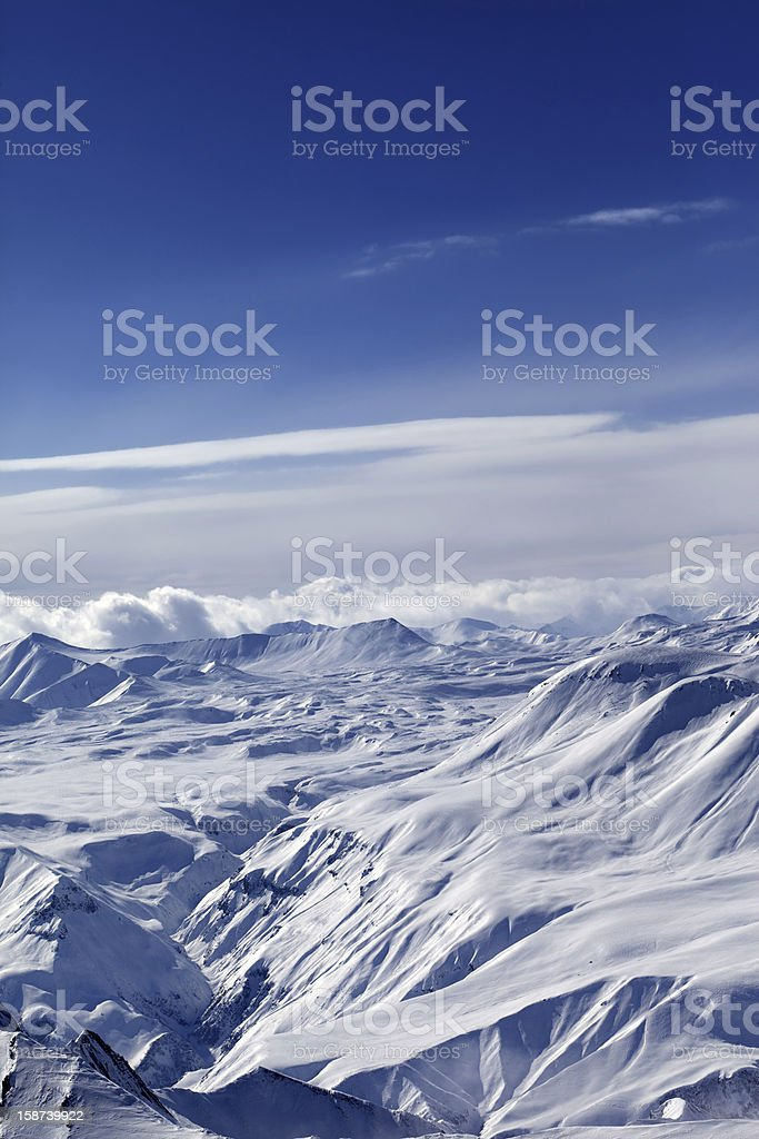 Top view of snowy mountains royalty-free stock photo