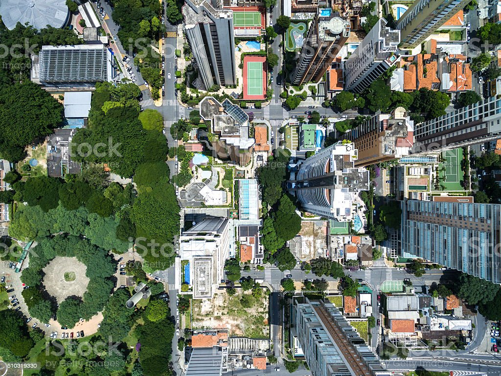 Top view of some buildings in Sao Paulo, Brazil stock photo