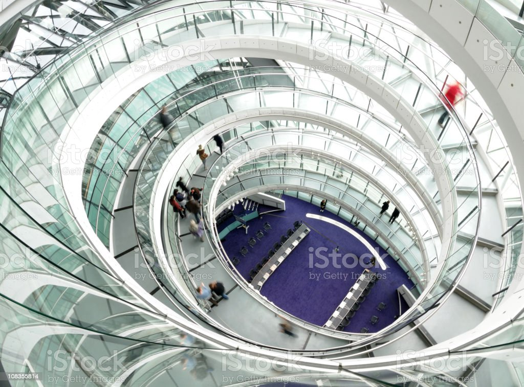 Top view of spiral staircase inside a building stock photo