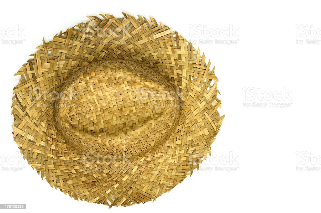 Top view of straw hat stock photo