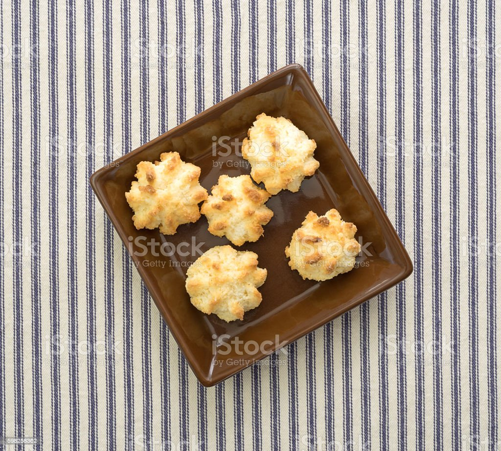 Top view of sugar free coconut macaroons in a dish stock photo