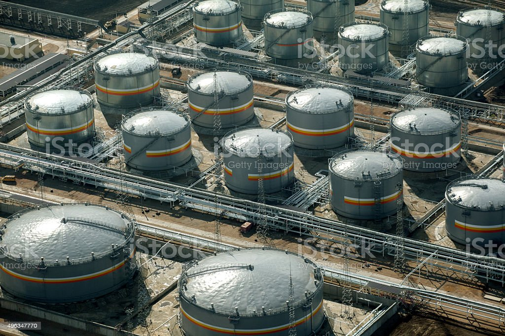 Top view of tanks on factory stock photo