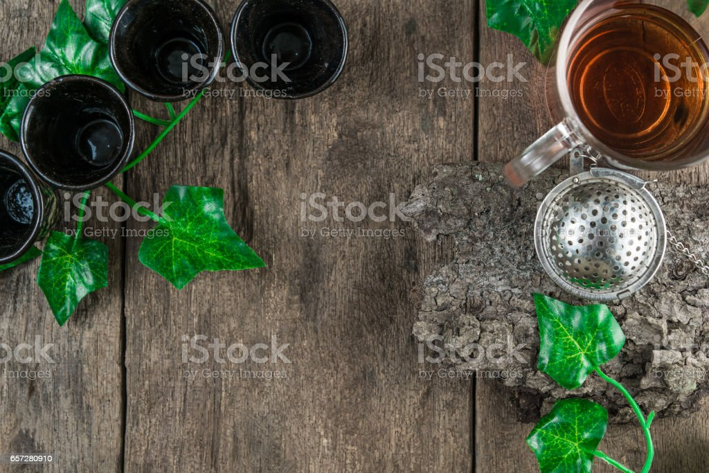 Top view of tea equipment stock photo