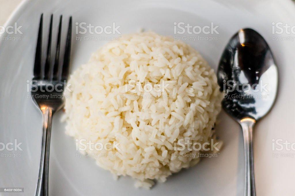 Top view of Thai jasmine rice in white dish stock photo