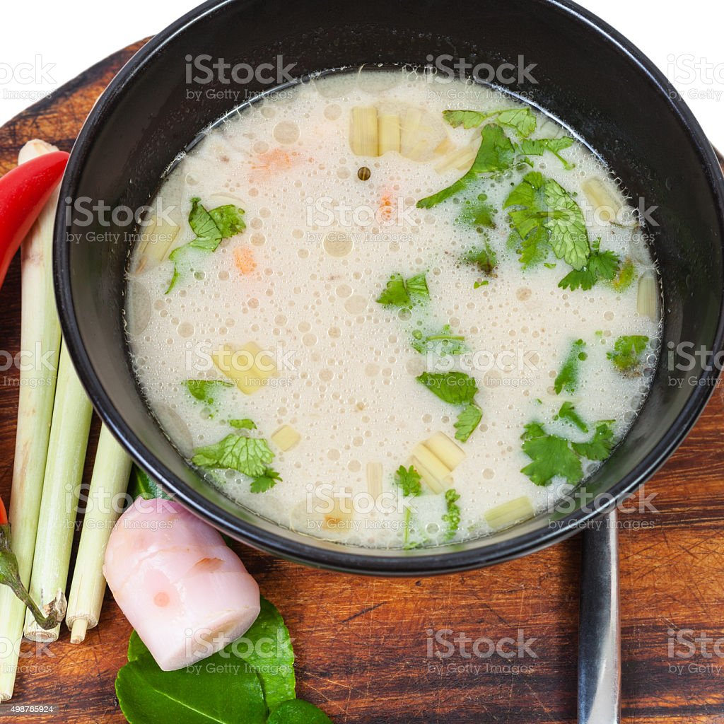 top view of thai soup Tom yam and ingredients stock photo