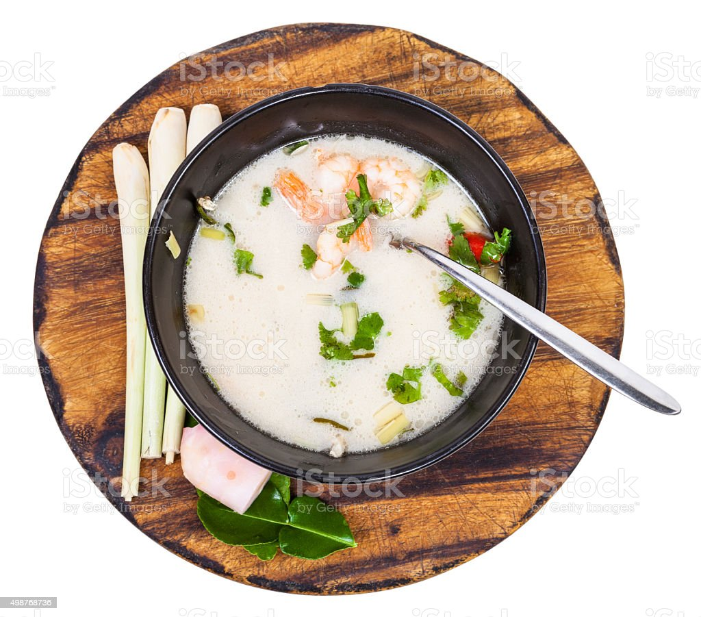 top view of thai soup Tom yam in bowl stock photo