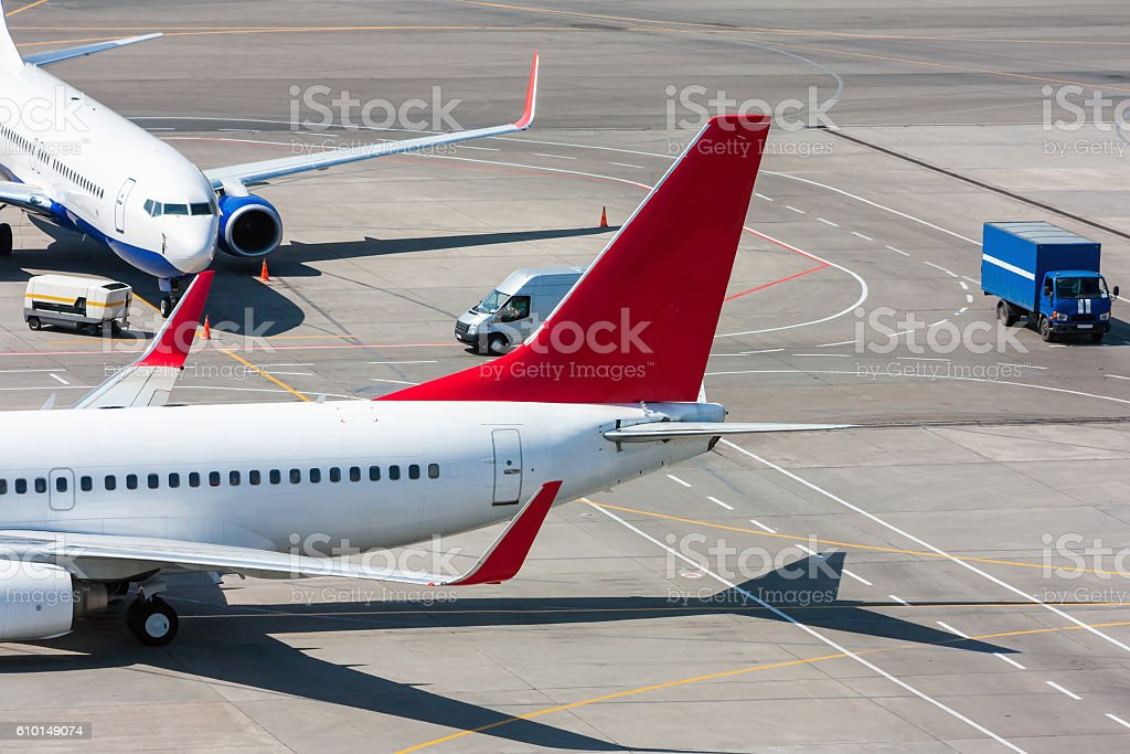 Top view of the airport apron royalty-free stock photo