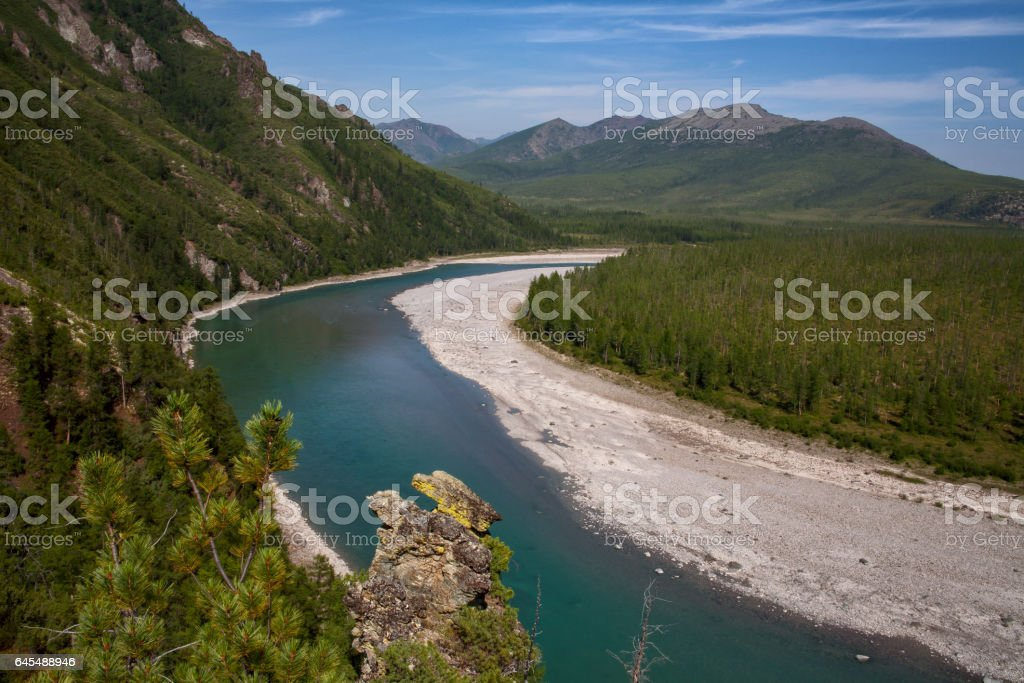 Top view of the beautiful river in the mountains. stock photo