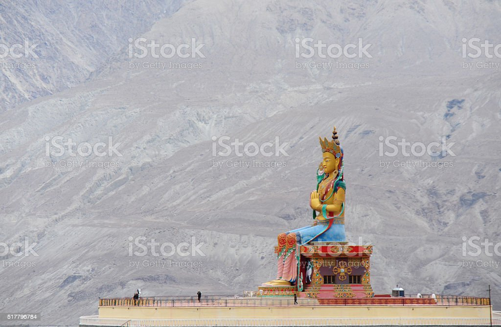 Top view of, the Big Maitreya Buddha statue, Ladakh, India stock photo