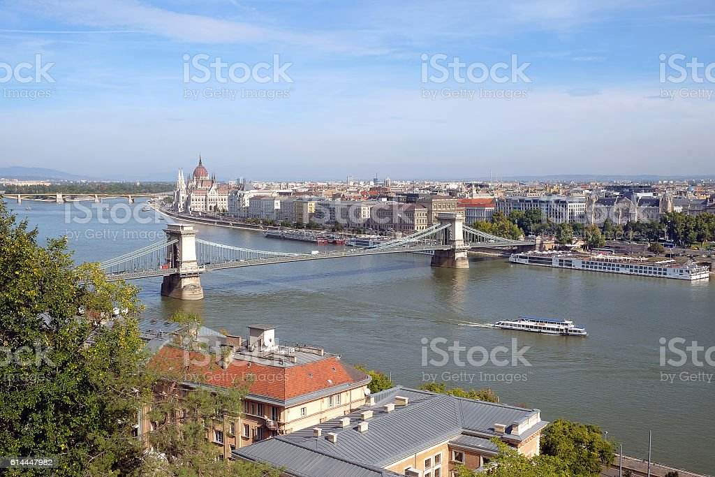 Top view of the Chain Bridge across the Danube stock photo
