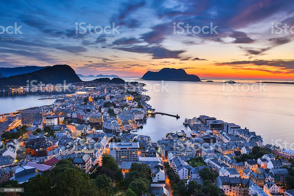 Top view of the city of Alesund at sunset . Norway stock photo