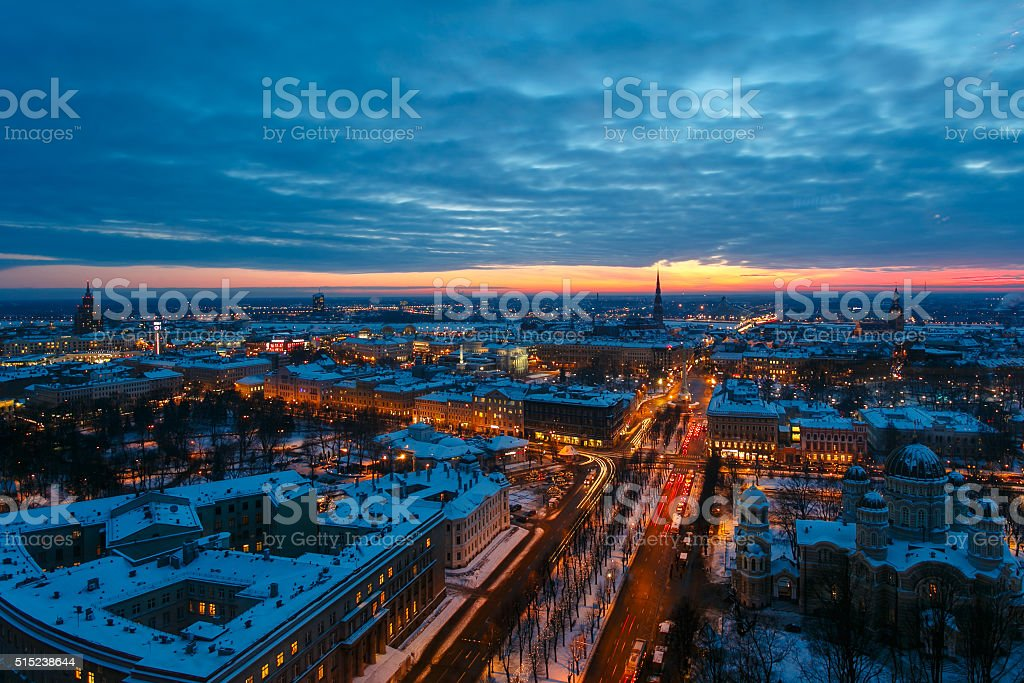 Top view of the evening Riga at sunset stock photo