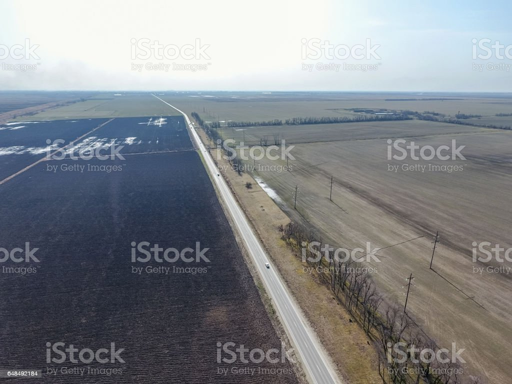 Top view of the field. Early spring in the Kuban. Agricultural g stock photo