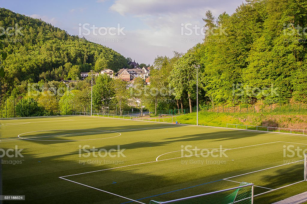 Top view of the football field stock photo