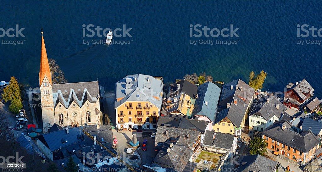 Haut de la vue sur le Lac d'Hallstatt et Hallstater voir, en Autriche. photo libre de droits