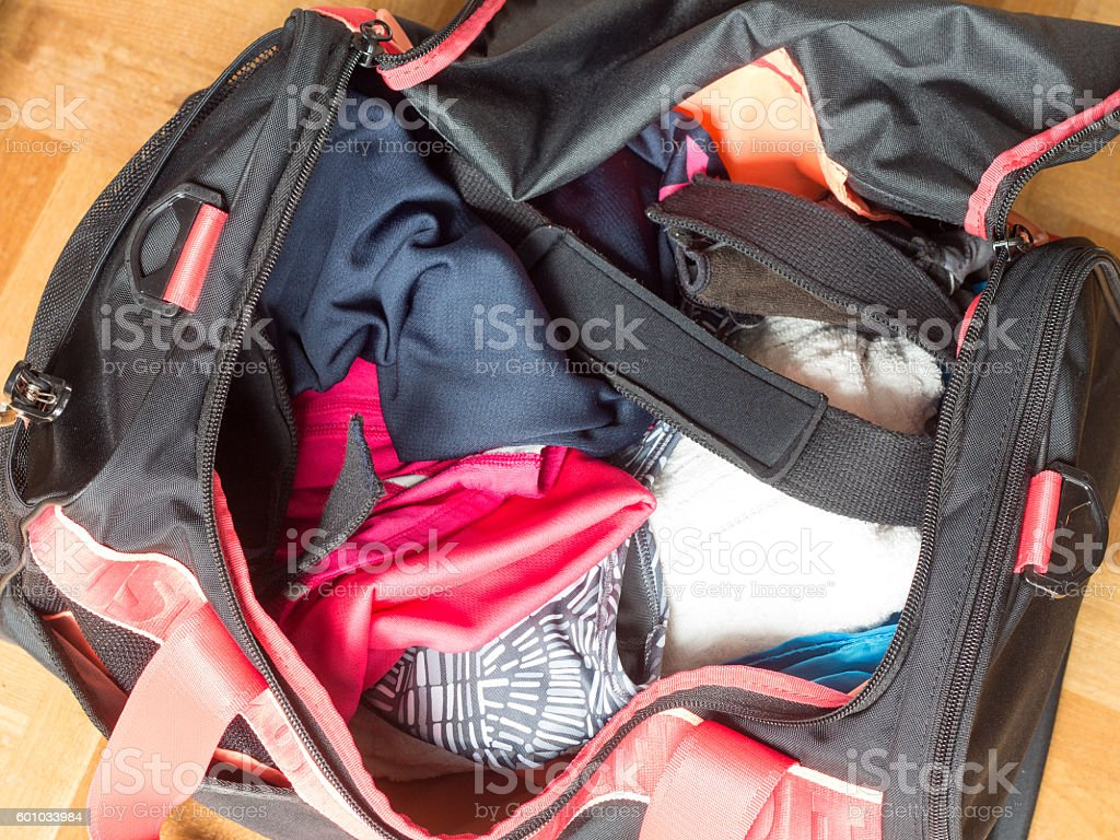 Top view of the inside of the girl's gym bag stock photo