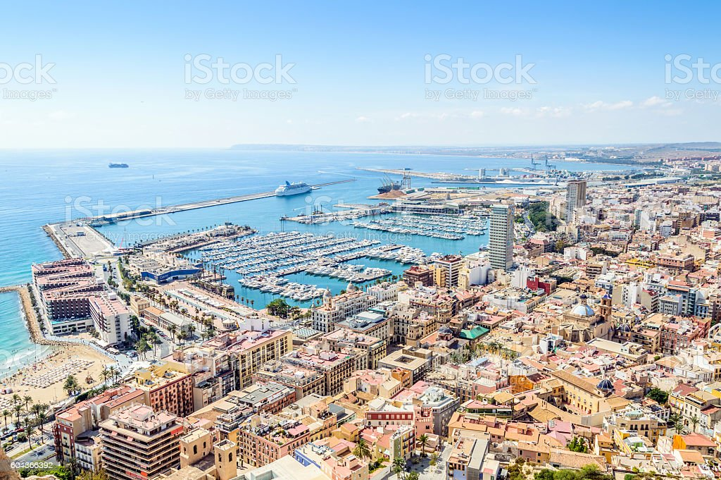 Top View of the Marina of Alicante stock photo