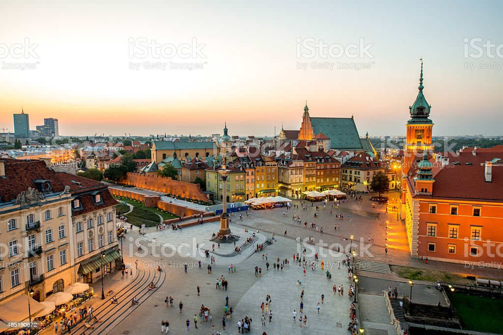 Top view of the old town in Warsaw stock photo