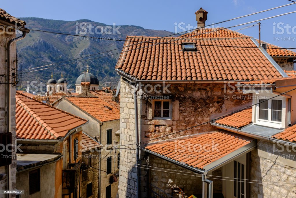 top view of the old town of Kotor stock photo