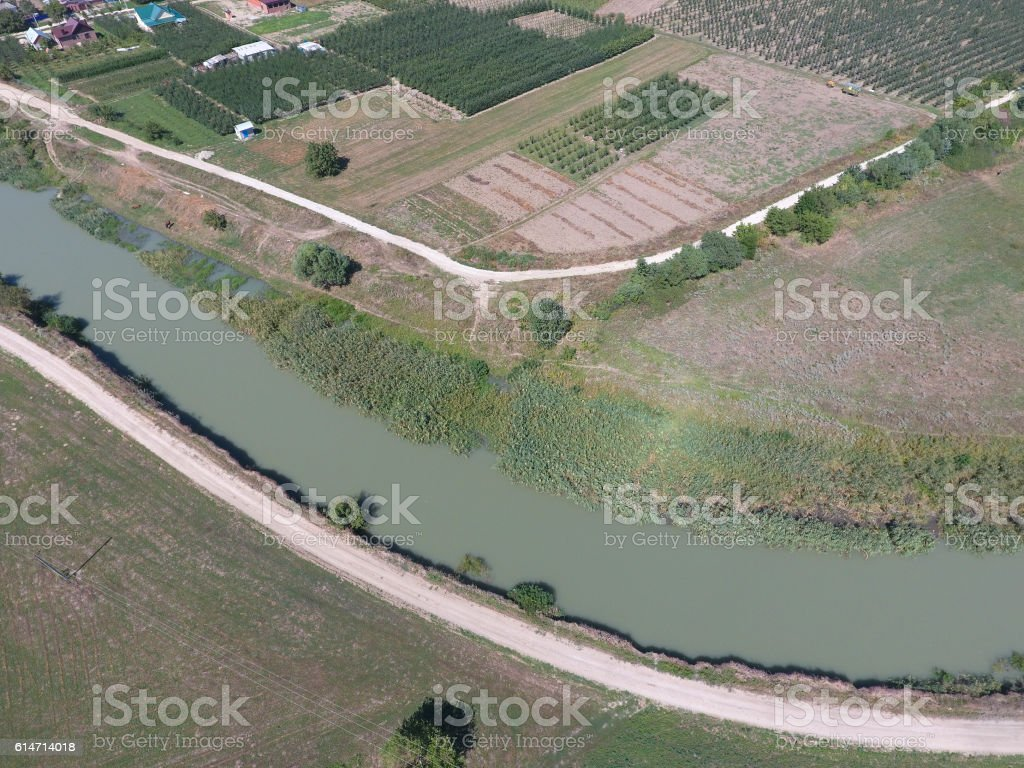 Top view of the river channel stock photo