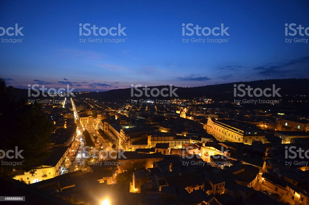 Top view of the town of Scicli stock photo