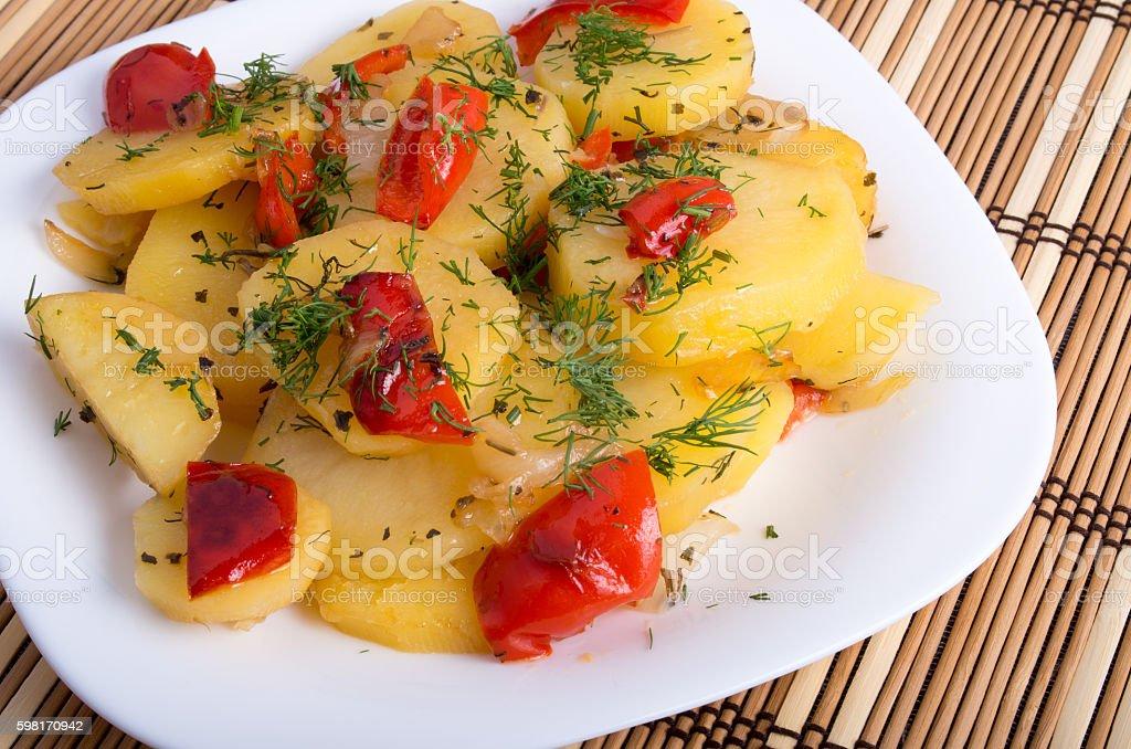 Top view of the vegetarian dish of organic potatoes stock photo
