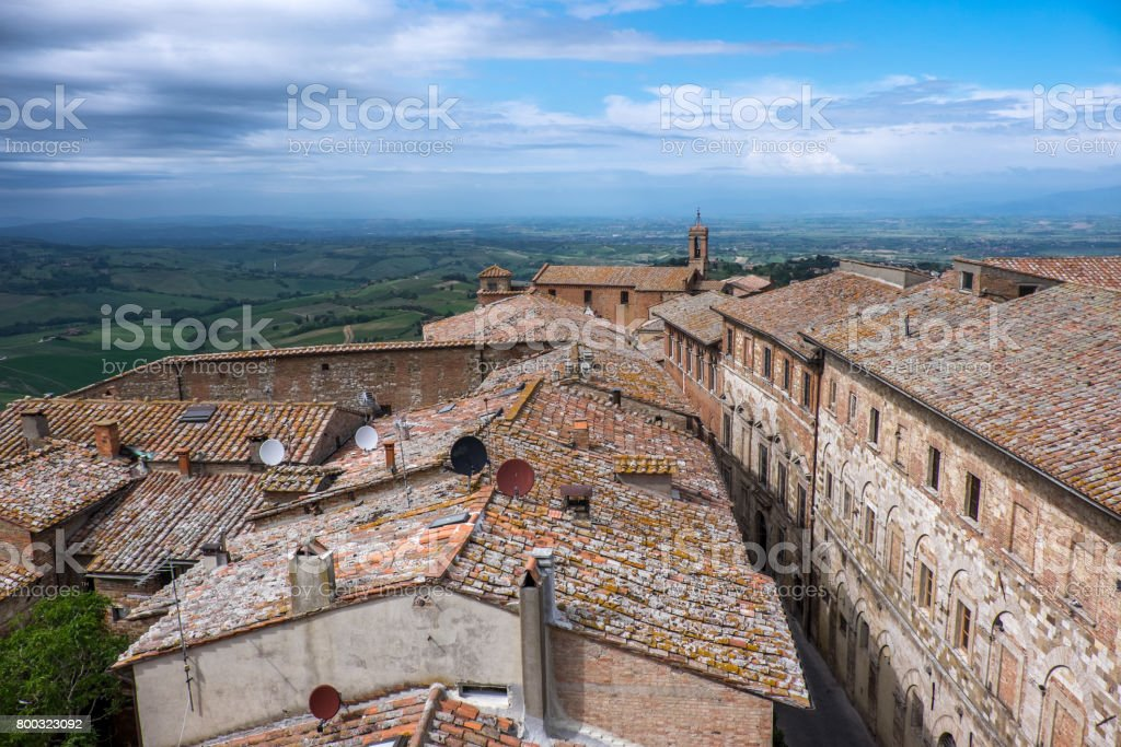 Top view of town Montepulciano, Tuscany stock photo