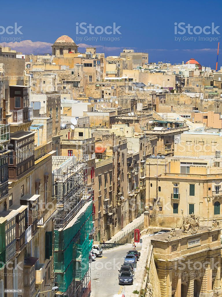 Top view of traditional  street in Valetta, Malta stock photo