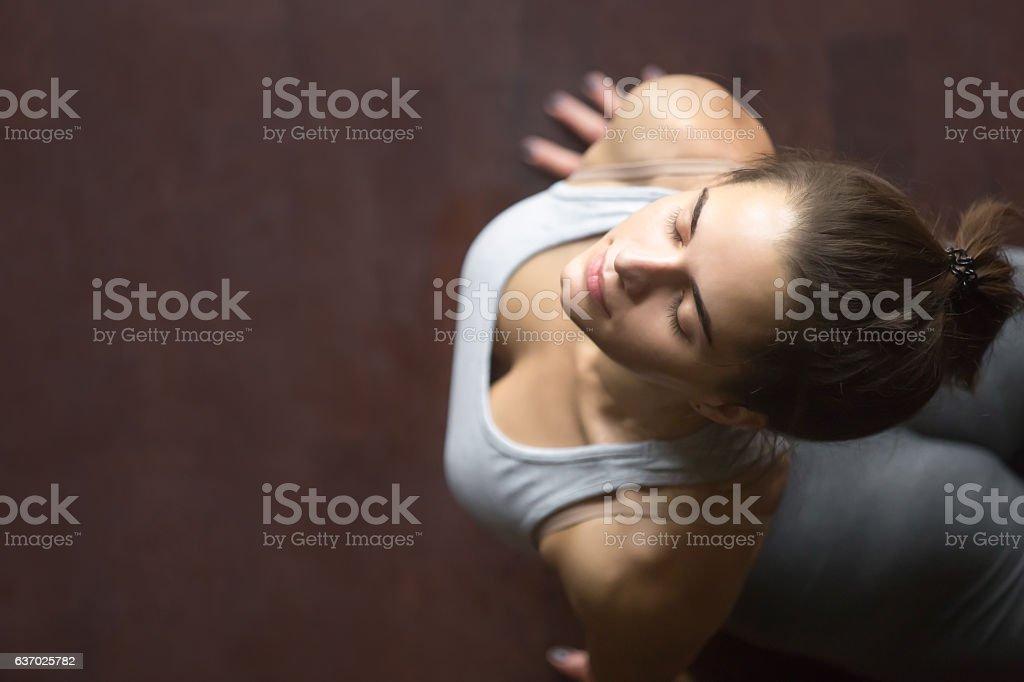 Top view of upward facing dog or cobra yoga pose stock photo